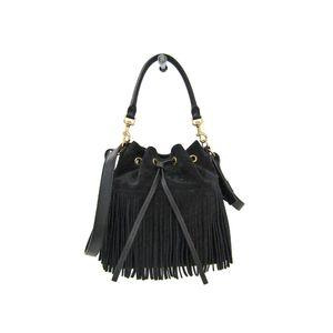 Saint Laurent Emmanuelle Fringe Shoulder Bag Nubuck Black 381762