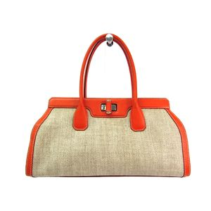 TODS Hand bag Coating Canvas/Leather Beige/Orange