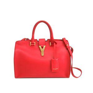 Saint Laurent Petit Cabas Hand bag Calfskin Red 311210