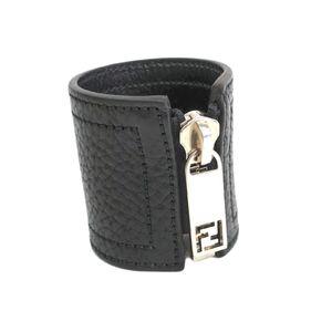FENDI Zip Up Bangle Leather Black/Silver 8AG042
