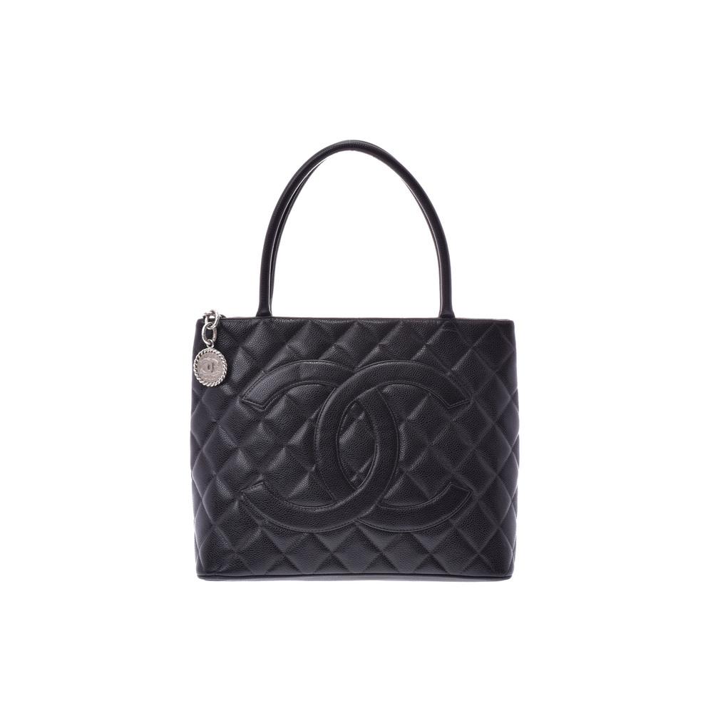 21f67af702ac Chanel (Chanel) Reprint Tote Caviar Skin Black Sv Bracket Bag