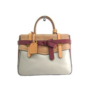 REED KRAKOFF Boxer Hand bag Leather Beige/Gray/Bordeaux
