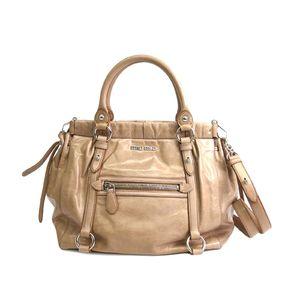 MIU MIU Hand bag VITELLO LUX Leather Cammeo/Beige RN0954