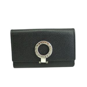 BVLGARI 6 Key Case Embossed Calf Leather Black 30422