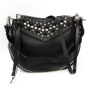 Jimmy Choo ARTIE Women's Leather Studded Handbag,Shoulder Bag Black