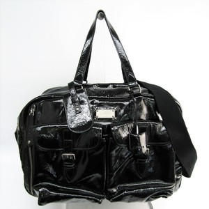 Loewe 335.37.355 Unisex Patent Leather Boston Bag Black