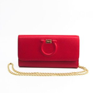 Salvatore Ferragamo Gancini 22 D292 Women's  Calfskin Chain/Shoulder Wallet Red