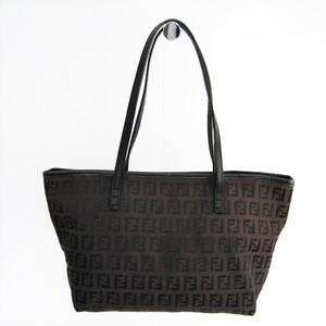 Fendi Zucchino 8BH075 Women's Canvas,Leather Tote Bag Dark Brown