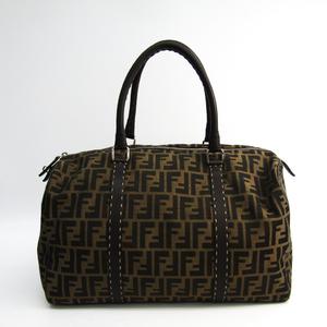 Fendi Zucca 8BL062 Women's Canvas,Leather Boston Bag Beige,Dark Brown