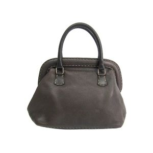 FENDI Hand bag Selleria Calfskin Leather Brown 8BN007