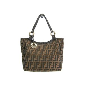 FENDI Hand bag Zucca Canvas/Leather Brown 8BH156