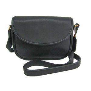 COACH Shoulder Bag Leather Black