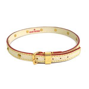LOUIS VUITTON Double Tour Bracelet Suhali Leather Blanc M91846