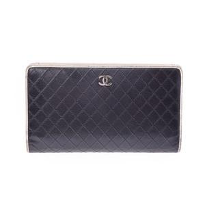 シャネル(Chanel) ビコローレ  カーフスキン 財布 ブラック,ホワイト