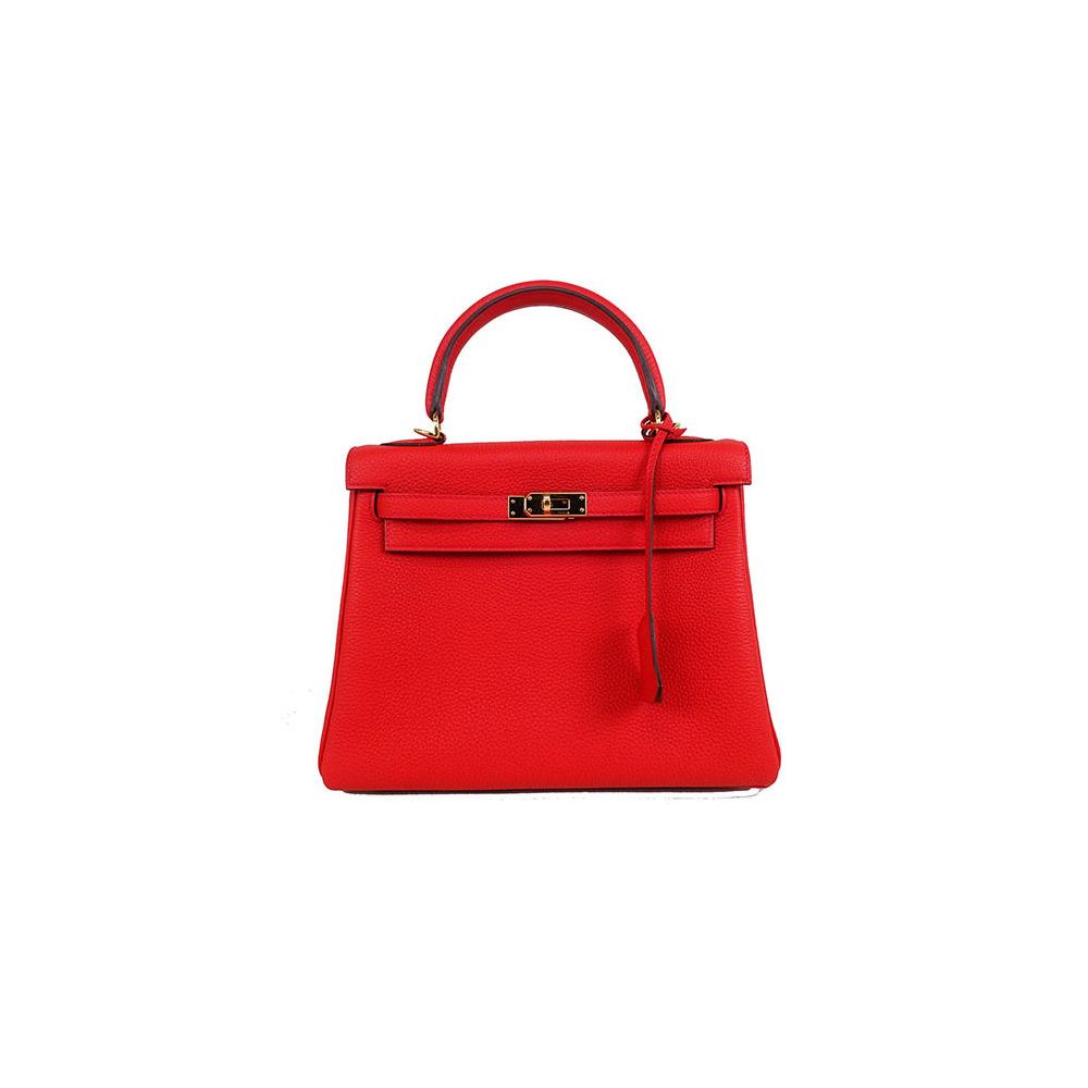 Auth Hermes Kelly 25 Women s Togo Leather Handbag Geranium 80ce7b6cd74b4