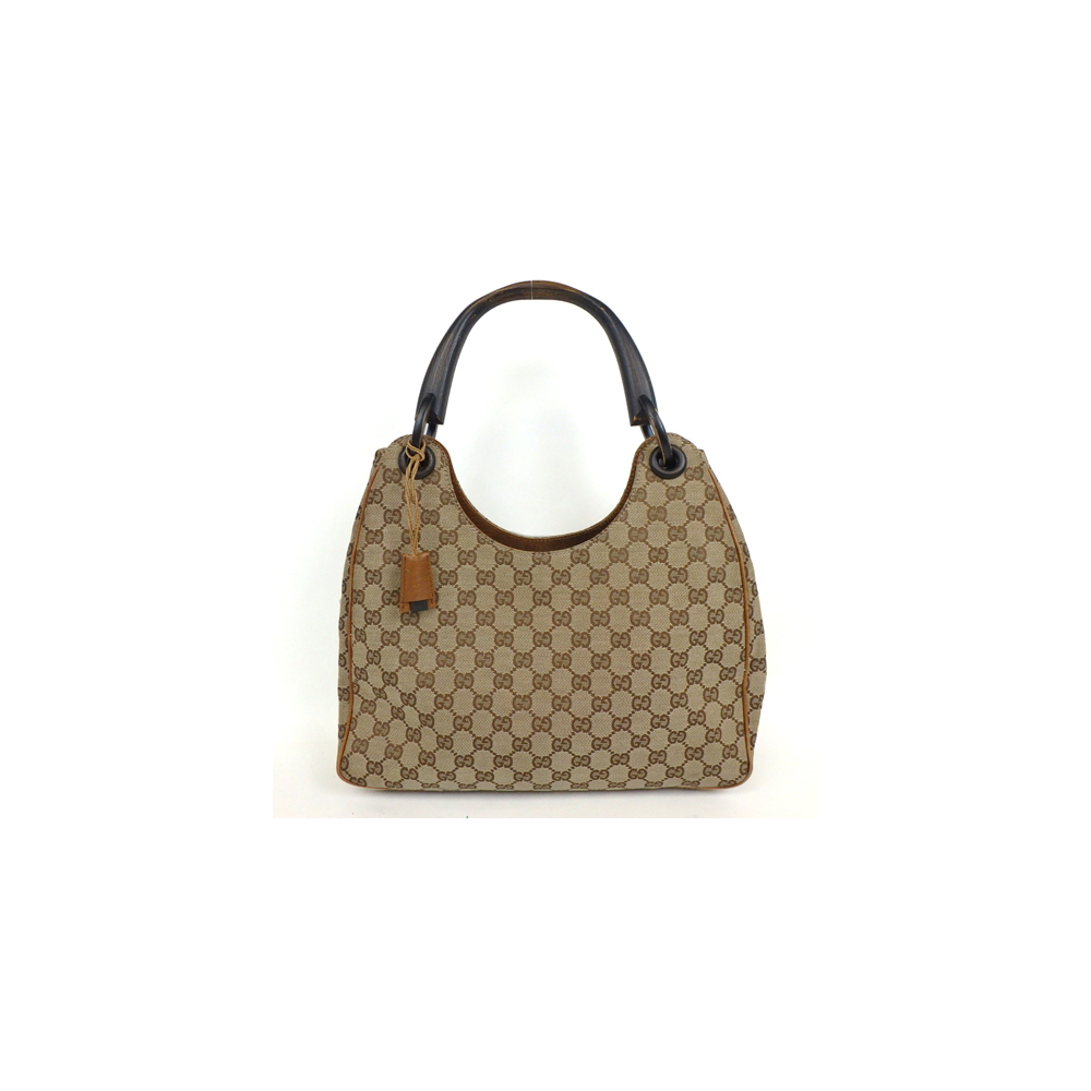 Auth Gucci Gg Canvas 106494 Wood Handle Tote Eladycom