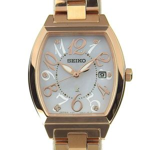 Seiko Seiko Rukia Solar Ladies Quartz Wrist Watch Shell Dial V137-0ce0
