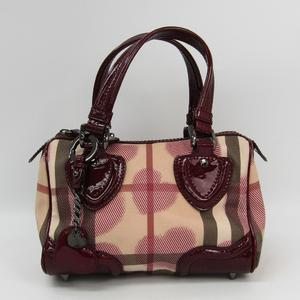Burberry Heart Motif Women's PVC,Patent Leather Handbag Bordeaux,Beige