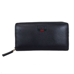 816ab80c651a39 Auth Gucci Leather Zip Around wallet with web
