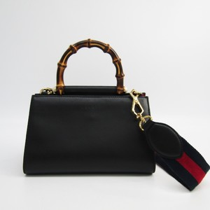 Gucci Nymphaea Mini 470271 Women's Leather,Bamboo Handbag Black