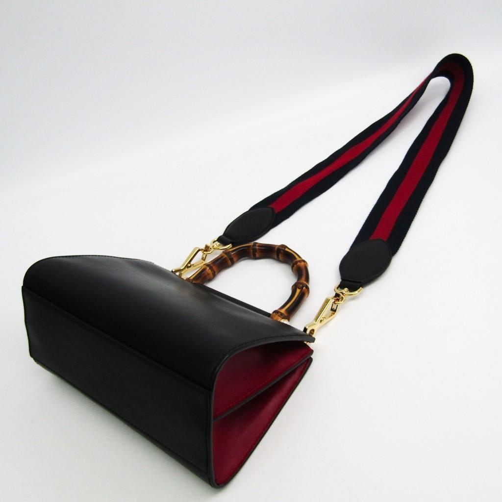 2427e6cd4 Gucci Nymphaea Mini 470271 Women's Leather,Bamboo Handbag Black ...