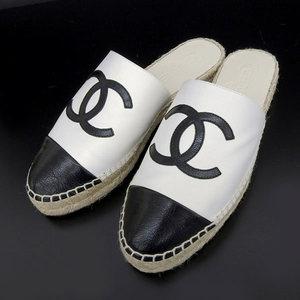 Genuine Chanel Coco Mark Espadrilles Sandals 37 White Black G33553
