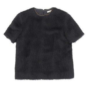 Genuine Celine Serine Alpaca Fur Tops Short Sleeve Phoebe Black 38