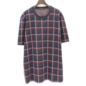 Genuine Louis Vuitton Mens Sweat Check Pattern Short-sleeved Cut And Sawn Navy Red White Xl