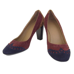 Real Hermes Suede Pumps Bordeaux Brown Navy 37
