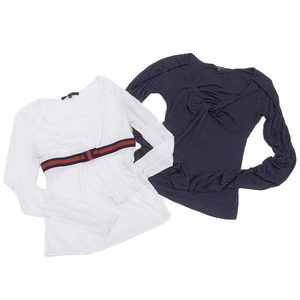 Genuine Gucci Women's Tops Clothes 2 Pcs Set White Navy Xs