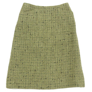 Genuine Chanel Knee Length Tweed Skirt Green System 36