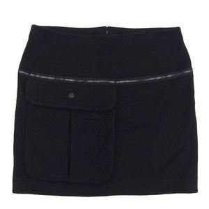 Genuine Chanel Cashmere Mixed Skirt Black 44