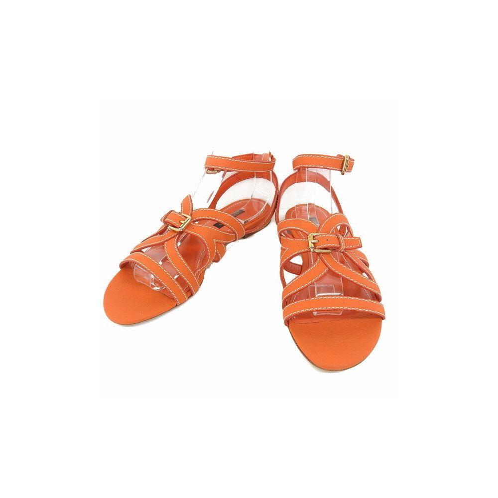 Authentic Louis Vuitton Gladiator Strap Sandals Orange 37