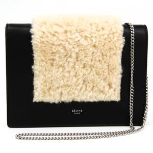 Celine Frame Evening Clutch On Chain 107773 Women's Leather Clutch Bag,Shoulder Bag Black,Ivory
