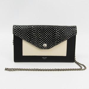 Celine Large Flap On Chain 105213 Women's  Calfskin Chain/Shoulder Wallet Black,White