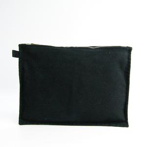 Hermes Bora Bora GM Women's Cotton Canvas Pouch Black