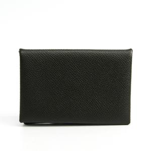 Hermes Epsom Leather Business Card Case Charcoal Gray Calvi