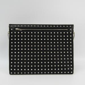Saint Laurent 360951 Leather Studded Clutch Bag Black