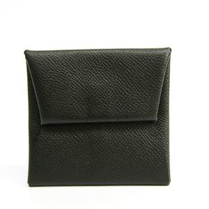 Hermes Bastia Men's Epsom Leather Coin Purse/coin Case Charcoal Gray