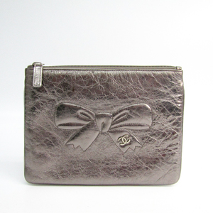 Chanel Women's Leather Clutch Bag,Pouch Silver