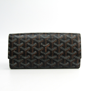 Goyard Varenne 2 Unisex Leather,Canvas Long Wallet (bi-fold) Black