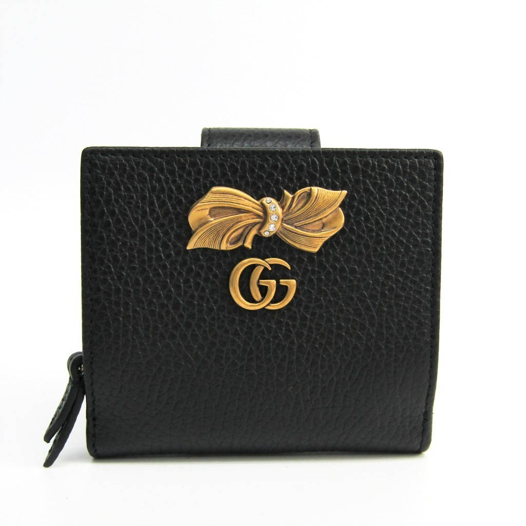 a069dbf239b323 Details about Gucci Bow Leather Wallet 524298 Women's Leather Wallet Black  BF328811