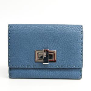 Fendi Selleria PEEKABOO 8M0359 Women's Leather Wallet (bi-fold) Blue