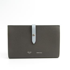 Celine Strap Large Multifunction 104873 Women's  Calfskin Long Wallet (bi-fold) Gray,Light Blue