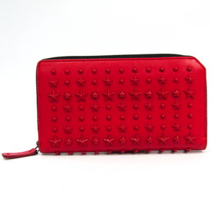 Jimmy Choo CARNABY J000087818001 Women's Leather Long Wallet (bi-fold) Red