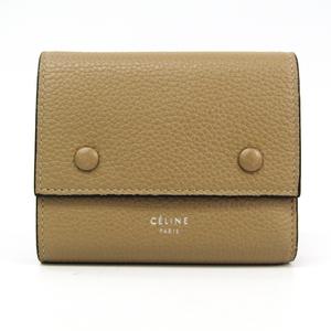 Celine 104903 Women's Leather Wallet (tri-fold) Beige,Red