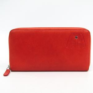 Chanel Jacket Stamped Round Fastener A50130 Women's Leather Long Wallet (bi-fold) Coral Orange