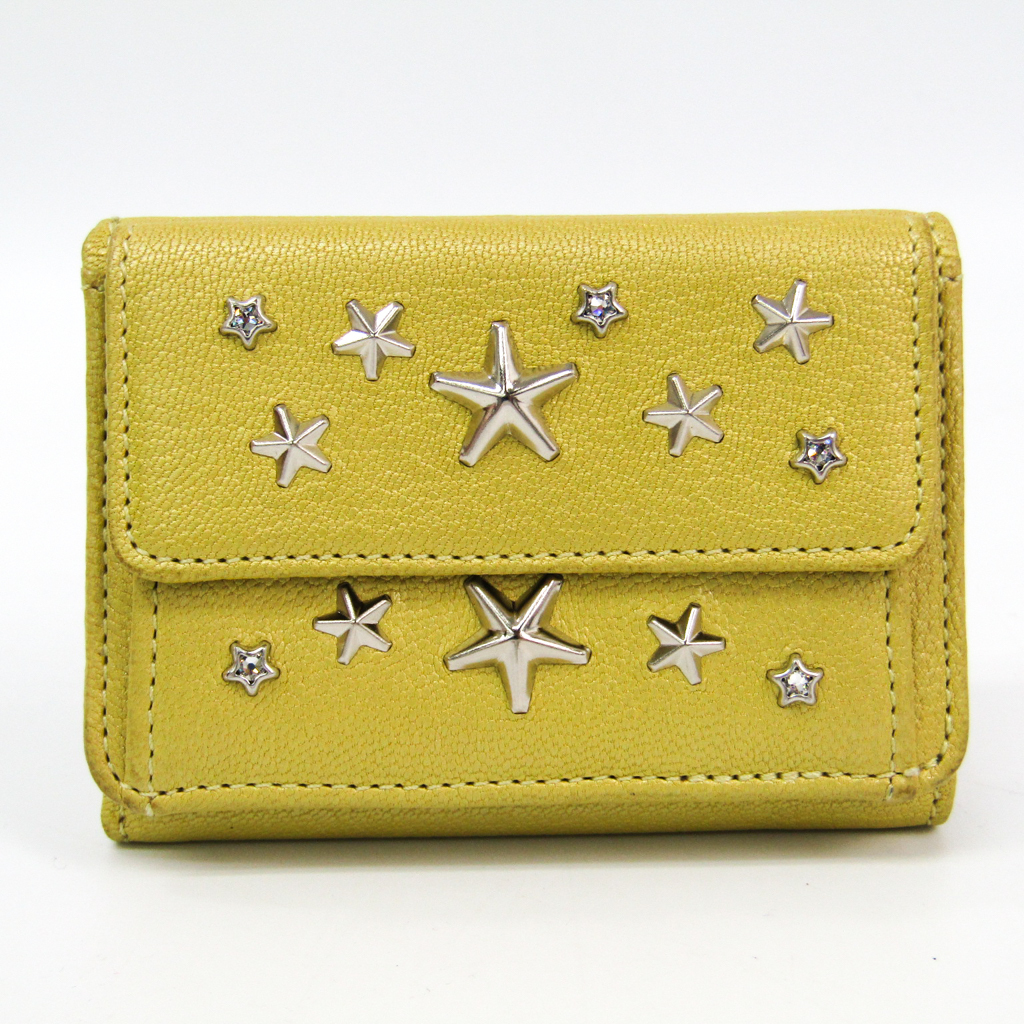 8cbb23355e Details about Jimmy Choo Nemo Women's Leather Wallet (tri-fold) Yellow  BF329092