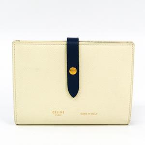 Celine Strap Medium Multifunction Women's  Calfskin Wallet (bi-fold) Cream,Navy