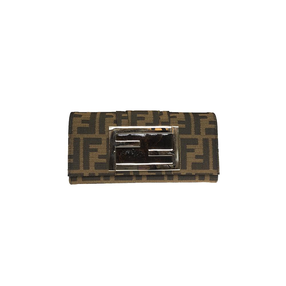 フェンディ(Fendi) ズッカ 8M0251 長財布 ユニセックス キャンバス,レザー 札入れ(二つ折り) ブラウン